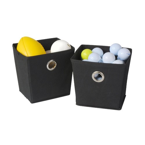 Essential Home Mini Fabric Grommet Bin 2-Pack - Black