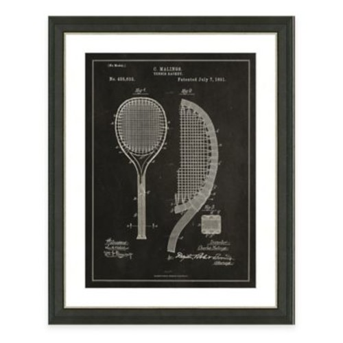 Tennis Racket Patent Framed Print in Slate
