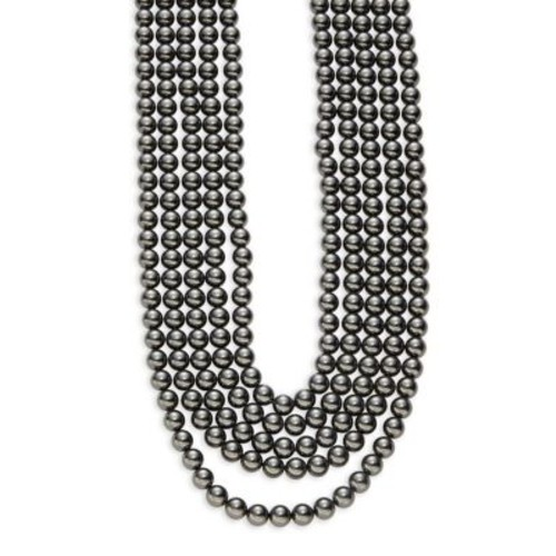 Multi-Row Faux Black Pearl Necklace