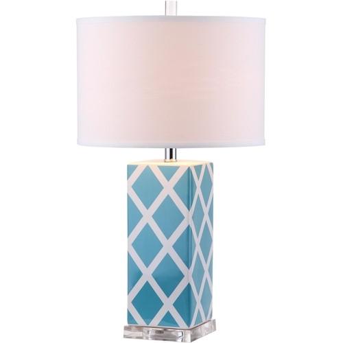Safavieh Lighting 27-inch Garden Lattice Light Blue Table Lamp