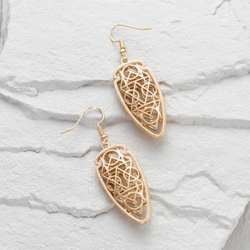 Gold Filigree Arrow Drop Earrings