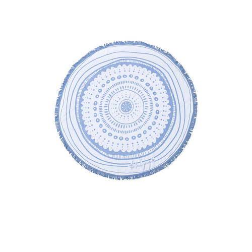 The Beach People The Wategos Round Towel in Blue & White