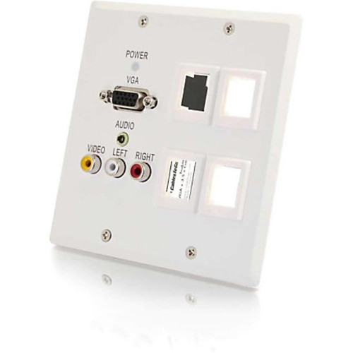 C2G TruLink Dual Gang VGA+3.5mm+Compostie+4 Keystone over Cat5 Wall Plate Receiver- White