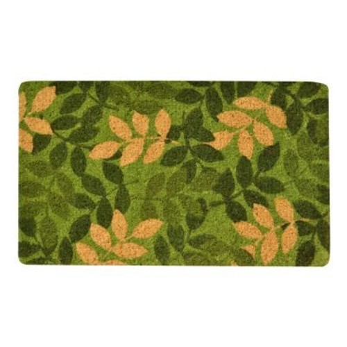 HomeTrax Designs Outdoor Green Leaf 1 ft. 6 in. x 2 ft. 6 in. Coir Door Mat