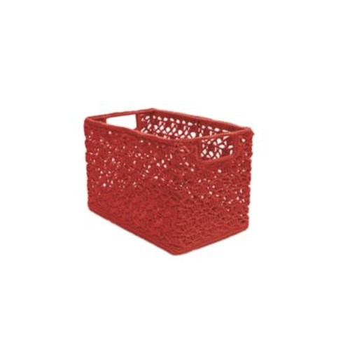 Heritage Lace Mode Crochet Wire Basket; Ruby Red