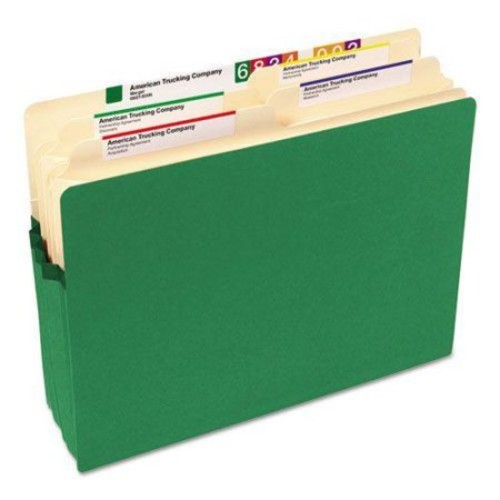 3 1/2 Inch Accordion Expansion Colored File Pocket, Straight Tab, Letter, Green