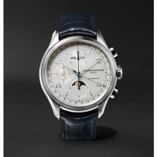 Baume & Mercier - Clifton Automatic Chronograph 43mm Stainless Steel and Alligator Watch