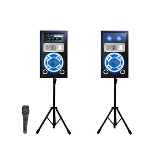 Technical Pro STAGE50 Bluetooth Stage Speakers, With 2 Tripods And Microphone, Black, Pack Of 2, STAGEPACK5