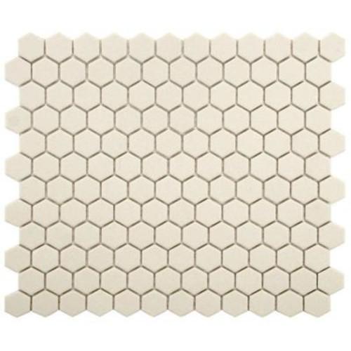 Merola Tile Gotham Hex Antique White 10-1/4 in. x 12 in. x 5 mm Porcelain Unglazed Mosaic Tile (8.54 sq. ft. / case)