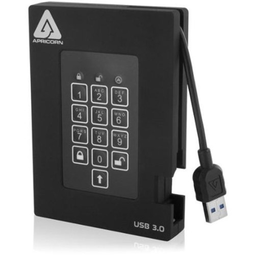 Apricorn Aegis Padlock A25-3PL256-1000F 1 TB External Hard Drive - USB 3.0 - 5400 - 8 MB Buffer - Portable