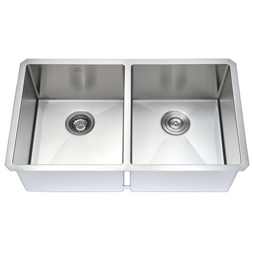 Anzzi Vanguard Stainless Steel and Brushed Nickel Soave Faucet 32-inch Undermount Double-bowl Kitchen Sink