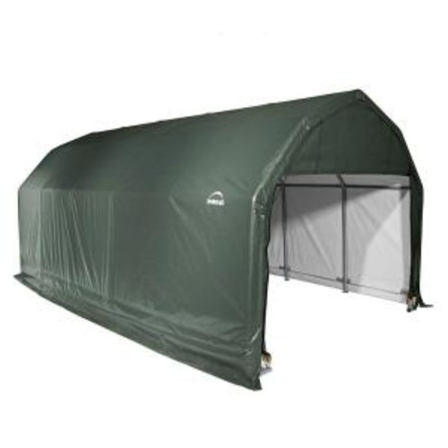 ShelterLogic 12 ft. x 28 ft. x 11 ft. Green Steel and Polyethylene Garage without Floor