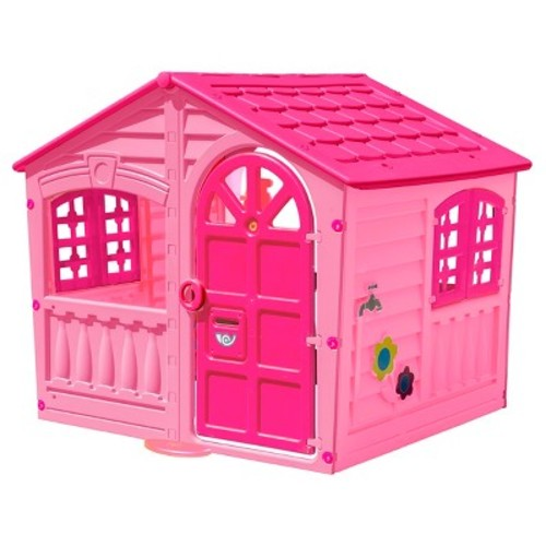 Pal Play Children's House of Fun Indoor/Outdoor Playhouse, Pink - Ages 2+