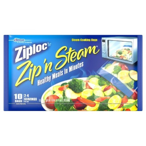 Ziploc Zip'N Steam Cooking Bags, Medium-10 ct