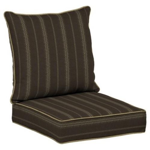 Trevor Stripe Espresso 2pc Outdoor Deep Seat Cushion Set - Brown - Bombay Outdoors