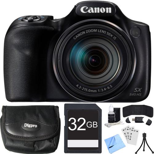 Canon PowerShot SX540 HS 20.3MP Digital Camera w/ 50x Optical Zoom 32GB Card Bundle