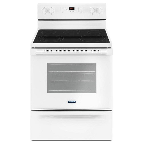 Maytag 30 in. 5.3 cu. ft. Wide Electric Range with Shatter-Resistant Cooktop in White