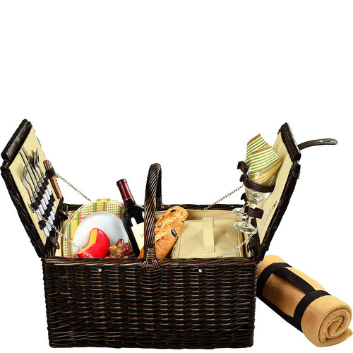 Picnic at Ascot Surrey Willow Picnic Basket with Service for 2 with Blanket - Hamptons [Brown Wicker-Hamptons Plates/napkins]