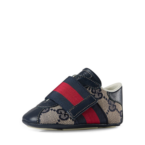 GUCCI Icon Gg Slip-On Sneaker, Beige/Blue, Infant