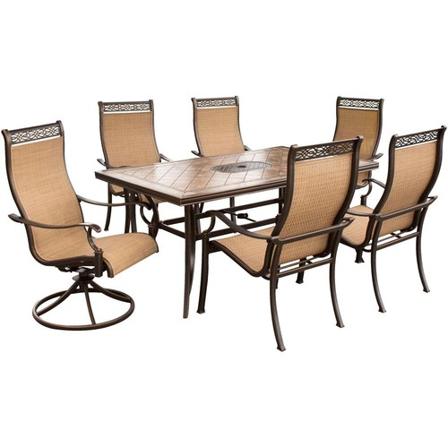 Hanover Monaco 7-Piece Aluminum Rectangular Outdoor Dining Set with Tile-Top Table and Contoured 2 Swivels