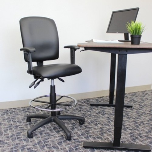 Multi-Function Leatherplus Drafting Stool with Adjustable Arms Black - Boss Office Products