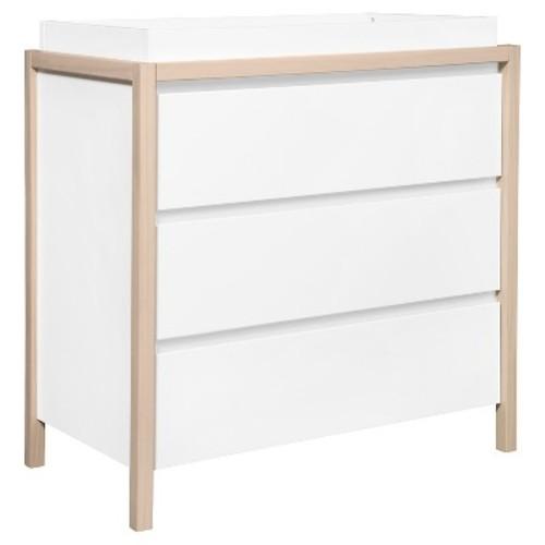 Babyletto Bingo 3-Drawer Changer Dresser - White/Washed Natural/Cool Mint