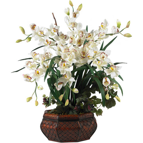 Large Cymbidium Silk Flower Arrangement, White