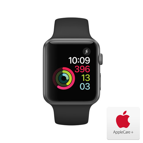 Apple Watch Series 1 with Space Gray Aluminum Case, 42mm - Black Sport Band with AppleCare+