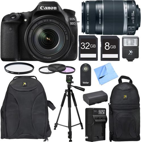 Canon EOS 80D CMOS DSLR Camera w/ EF-S 18-135mm IS USM Lens Photography Bundle