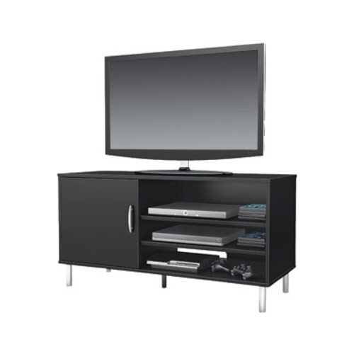South Shore Furniture Renta TV Stand With Door, Pure Black Finish