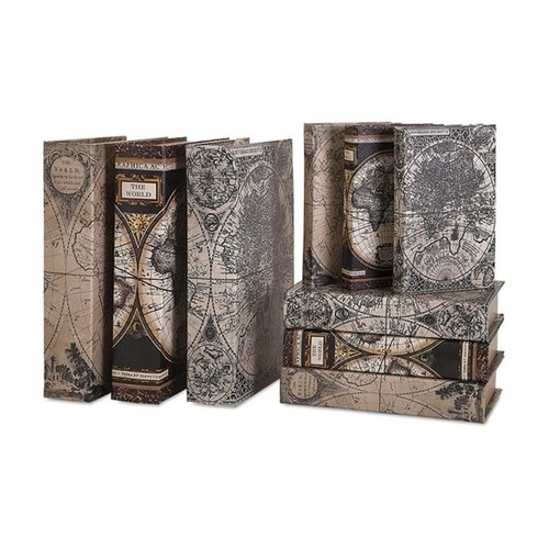 Set of 9 Munson Leather-Look Antique Map Graphic Pattern Decorative Book Boxes