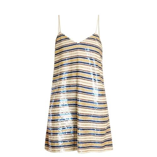 Striped sequin-embellished mini dress