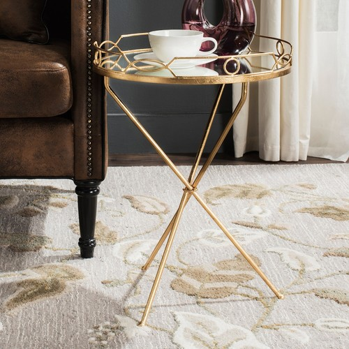Cherris Round End Table by Safavieh | antique gold leaf | Gilt