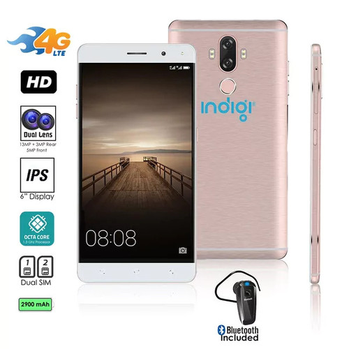 4G LTE GSM Unlocked 6in SmartPhone by Indigi (OctaCore @ 1.3GHz + Android 7 + Fingerprint Scanner) + Bluetooth headset