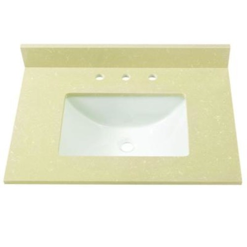 Home Decorators Collection 31 in. W Engineered Marble Single Basin Vanity Top in Crema Limestone