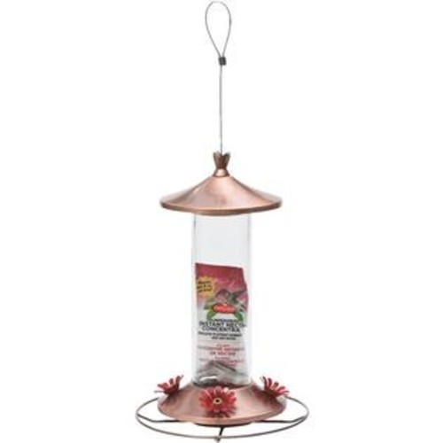 Woodstream 710 Brushed Copper Metal 12-Ounce Glass Hummingbird Feeder