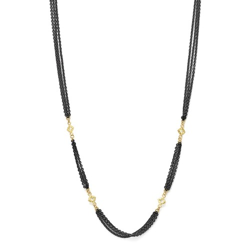 18K Yellow Gold and Sterling Silver Old World Triple Strand Necklace with Cravelli Cross Stations, 20