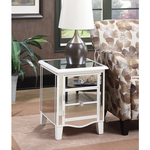 Convenience Concepts Gold Coast Park Lane Mirrored End Table