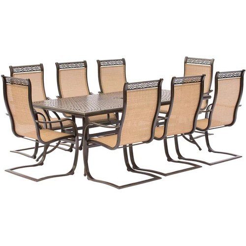 Hanover Manor Aluminum 9-piece Dining Set with 8 C-spring Chairs and Cast-top Dining Table - Tan