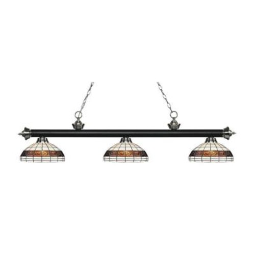 Filament Design Alessandro 3-Light Matte Black and Brushed Nickel Island Light with Tiffany Glass