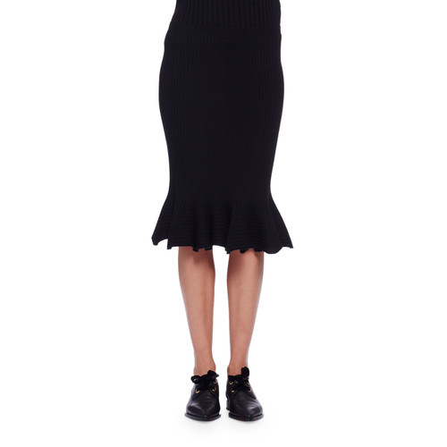 LANVIN Flounced Wool Pencil Skirt, Black