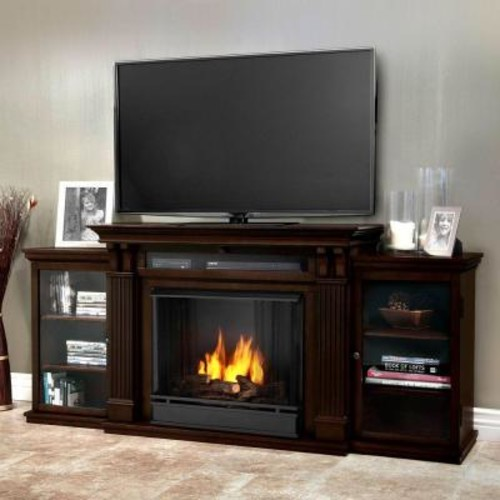 Real Flame Calie Entertainment 67 in. Media Console Ventless Gel Fuel Fireplace in Dark Walnut