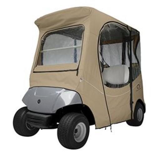 Classic Accessories Fairway Golf Cart FadeSafe Enclosure for Yamaha, Short Roof, Khaki