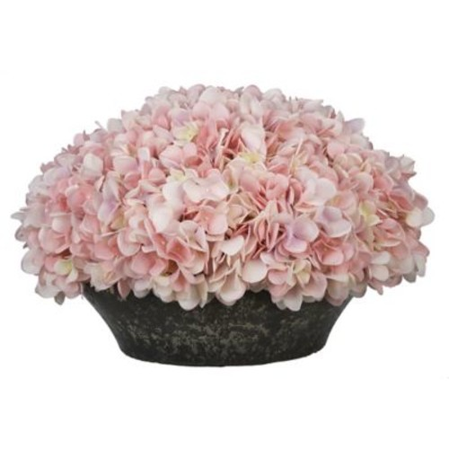House of Silk Flowers Hydrangea Arrangement in Stone Bowl; Baby Pink