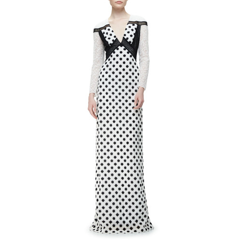 BURBERRY Long-Sleeve Macrame Lace Gown, Black/White