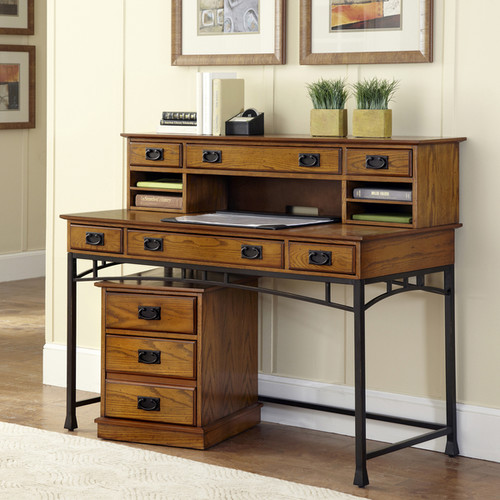 Modern Craftsman Executive Desk, Hutch/ Mobile File by Home Styles