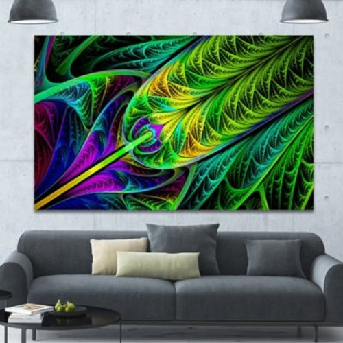 DesignArt 'Green Stained Glass Texture' Graphic Art on Canvas; 40'' H x 60'' W x 1.5'' D