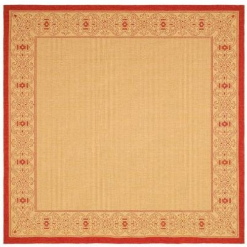 Safavieh Courtyard Natural/Red 7 ft. x 7 ft. Indoor/Outdoor Square Area Rug