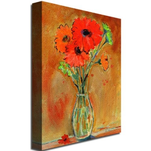 Trademark Fine Art Daisy Vase by Shelia Golden Canvas Wall Art, 24 by 32-Inch [24 by 32-Inch]