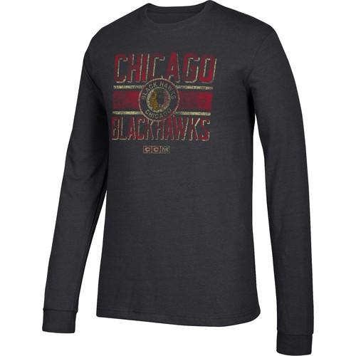 CCM Men's Chicago Blackhawks Line Brawl Black Long Sleeve Shirt